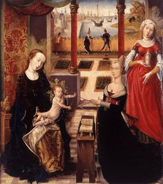 Madonna with Donor and St Mary Magdalene - Unknown Flemish Master 1475