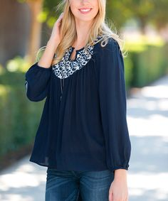 Love this Sawyer Cove Navy Cecily Peasant Top by Sawyer Cove on #zulily! #zulilyfinds
