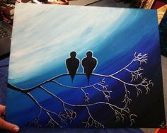 Blue, black & silver Birds under the moon  #birds #tree #moon #night #atnight #underthemoonlight #twobirds #blue #black #silver #art #artlovers #artlover #instaart #instapaint #painter #painting #artist #paint #draw #drawing #colors #blackblueandsilver