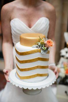 Gold chevron wedding cake // photo by Erin Nicole Photography Wedding Cake Photos, Beautiful Wedding Cakes, Wedding Cake Designs, Wedding Pics, Beautiful Cakes, Amazing Cakes, Cake Wedding, Wedding Ideas, Dream Wedding
