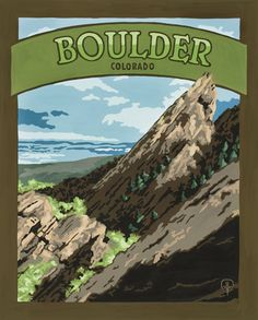 Boulder Colorado  - Gouache on Pressed Board.  Original art and high quality goache prints by Julie Leidel.  See (and maybe even buy) her work at www.bungalowcraft.com.