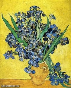 Still Life: Vase with Irises Against a Yellow Background - Vincent van Gogh . Created in Saint-Rémy in May, Located at Van Gogh Museum Fleurs Van Gogh, Van Gogh Flowers, Blue Flowers, Vincent Van Gogh, Van Gogh Museum, Iris Painting, Painting Edges, Painting Flowers, Piet Mondrian