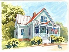 Country Cottage by Ann Neely Watercolor ~ 9 x 12
