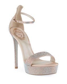 Rene Caovilla 130mm Crystal-Studded Satin Platform Sandal | Neiman Marcus