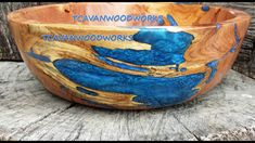 Epoxy Resin Inlaid Wood Bowls, hollowforms, vessels, and plates. Hand turned by me and inlaid with colorful iridescent resins. Lathe Projects, Wood Turning Projects, Wood Projects, Woodworking Projects, Wood Turned Bowls, Wood Bowls, Diy Resin Crafts, Wood Crafts, Epoxy Resin Wood
