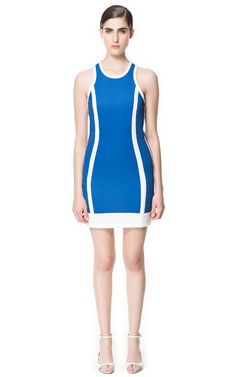 Zara Dress with Two-Tone Piping—Honestly, this dress is hot. The color combo goes nicely with the racerback, reminiscent of pin-up girls you'd find at the race tracks back in the day.