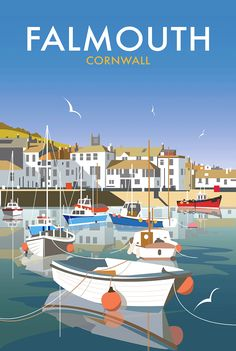 Falmouth in Cornwall Vintage Travel Poster Posters Uk, Railway Posters, Vintage Travel Posters, Illustrations And Posters, Beach Posters, British Travel, British Seaside, Retro Poster, Falmouth Cornwall