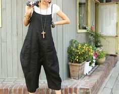 Fashion Woman Bib black linen Large file pants  Loose por MaLieb