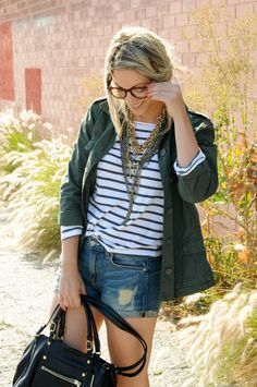 I love the stripes with the jean shorts...classic go-to outfit