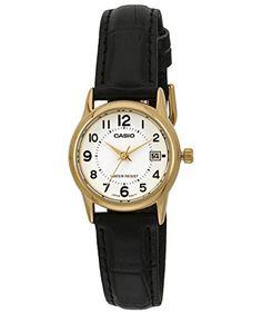 Casio Women's LTPV002GL-7B Black Leather Quartz Watch. Quartz Movement. 30 Meters / 100 Feet / 3 ATM Water Resistant. 24mm Case Diameter. Mineral Crystal.