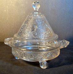 """EAPG """"ROYAL LADY"""" aka """"Royal Oak""""  or """"Royal Belmont"""" pattern Butter Dish made by Belmont Glass circa 1881, 8""""H x 8.5""""D."""