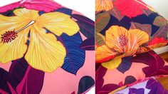 Design Your Life | Megan Isabella #cushions #tropical #floral #vibrant #covers #washable #polyester #designer #illustrated #art #local #australian #wa #perth #meganisabella #meganisabelladesign #home #homewares #decorating #couch #scatter #vibrant #print #large #blooms #pink #yellow #red #purple# lilac #cerise #leafy #green