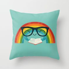 Reading Rainbow Throw Pillow Throw Pillow Cover made from 100% spun polyester poplin fabric, a stylish statement that will liven up any room. #Rainbow, #reading, #cute