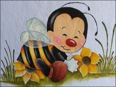 Simone Pinturas & Crochês Disney Drawings Sketches, Drawing Sketches, Rock Painting Designs, Paint Designs, Tole Painting, Fabric Painting, Bee Crafts, Diy And Crafts, Cartoon Bee