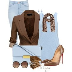 Baby Blue & Brown Outfit by ccroquer on Polyvore featuring moda, American Vintage, J.TOMSON, Christian Louboutin, STELLA McCARTNEY, Chantal Simard, By Malene Birger and Chloé