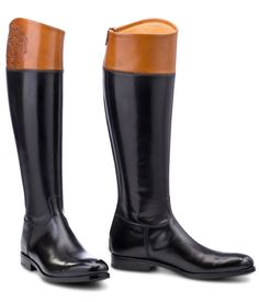 Alberto Fasciani Tall Black Boot with Tan CollarSize Guide   />