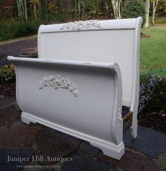 painted and appliqued queen sleigh bed. White Sleigh Bed, Sleigh Beds, Repurposed Furniture, Cool Furniture, Furniture Refinishing, Painted Furniture, Antique Beds, Vintage Beds, Old World Bedroom