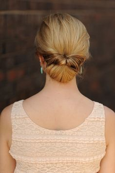 Upside Down Braid to Bun   Women s World   Pinterest   Bun tutorials     you could add some pretty pins or something