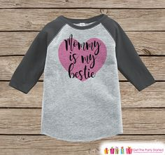 Kids Mother's Day Outfit - Mommy is my Bestie Onepiece or Tshirt - Happy Mothers Day Girl Grey Raglan Tee - Newborn Baby Gift - Pink Heart