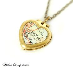 Paris France Map Necklace on Tiny Vintage Heart Locket - You Choose Chain Brass or Sterling Silver. $35.00, via Etsy.