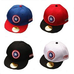 b9c934f9cd1 2016 Captain America Baseball Cap Flat Hat For Kids boys girls Adjustable  Summer sunhat Casual Snapback