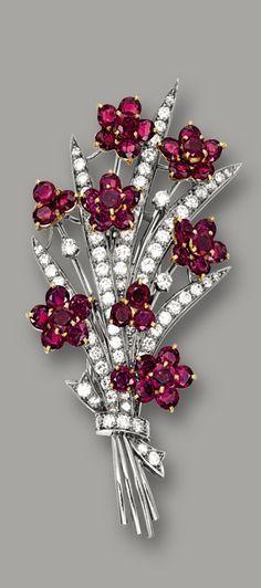 Ruby and diamond brooch.