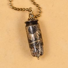 """Bullet jewelry - Etched """"Wildflower"""" bullet pendant - bullet necklace. $25.00, via Etsy."""