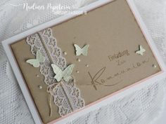 Nadines Papeteria: Einladung zur Kommunion im Vintage Stil Nadines Papeteria: Invitation to communion in vintage style Communion Invitations, Vintage Wedding Invitations, Printable Wedding Invitations, Invitation Cards, Party Invitations, Traditional Anniversary Gifts, Butterfly Cards, Homemade Cards, Scrapbook Paper