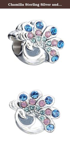 """Chamilia Sterling Silver and Swarovski Crystal Beautiful Peacock Bead Charm. Authentic Chamilia Natural Beauty Peacock Charm, Sterling Silver with Swarovski Crytals 2025-1426. Endeavor to show your true colors with the Natural Beauty Charm. This beautiful peacock, the symbol of vibrancy, nobility and integrity, features Capri Blue, Cyclamen Opal, and Indicolite Swarovski Crystal and has the word """"beautiful"""" down the neck."""