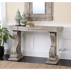 >Up to Off on Belen Partemio Distressed Console Table One Allium Way - Affordable Price accent furniture Gray Console Table, French Console Table, Accent Furniture, Table Furniture, Home Furniture, Grand Art, Entry Tables, Small Sofa, Country Style Homes