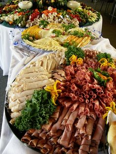 Food Trays ~ Meat Platter, Cheese Platter and Veggie Platter Party Platters, Food Platters, Cheese Platters, Food Buffet, Vegetable Platters, Buffet Tables, Veggie Tray, Wedding Reception Food, Wedding Catering