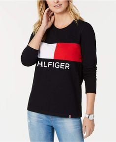 Tommy Hilfiger Sport Printed Crewneck Top - Black S Pajama Romper, Colorful Hoodies, Daytime Dresses, Plus Size Activewear, Weekend Style, Dresses With Leggings, Baby Girl Newborn, Trendy Plus Size, Tommy Hilfiger
