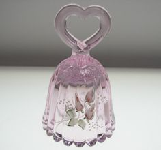 fenton glass | Fenton Art Glass Signed Hand Painted Pink Heart Handled Bell Rose Buds ...