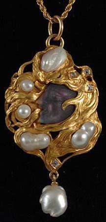 Art Nouveau - Pendentif - Or, Diamants, Améthyste Sculptée et Perles Baroques - Vers 1900