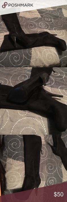 Guess Suede Knee High Boots Black suede Knee High Heeled Boots Guess Shoes Heeled Boots