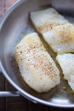 A quick and easy recipe for Pan-Seared Cod in White Wine Tomato Basil Sauce! If you love cod fish recipes, try this flavorful dish for … Cod Fish Recipes, Seafood Recipes, Indian Food Recipes, Cooking Recipes, Easy Recipes, Healthy Recipes, Fish Dishes, Seafood Dishes, Fish And Seafood