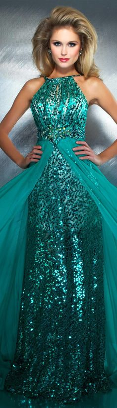Mac Duggal Style - Stunning tone on tone fully sequined halter top long prom gown. The Waistline features a Flowy Skirt that separates in the Middle. The back of this Dress features an Exposed Back and Beautiful Beadwork above the Skirt. Mac Duggal, Elegant Dresses, Pretty Dresses, Elegant Gown, Beautiful Gowns, Beautiful Outfits, Evening Dresses, Prom Dresses, Dresses 2013