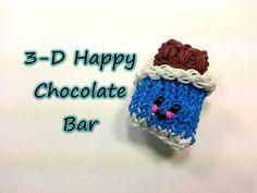 3-D Happy Chocolate Bar Tutorial by feelinspiffy (Rainbow Loom)  Copyright© 2014@craftingfantastic