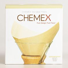 Chemex Bonded Unbleached Pre-folded Square Coffee Filters, 100 Count.    100 Chemex Bonded espresso channels, normal, unbleached  Square shape prefolded; evacuates fine residue particles
