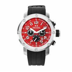 TW Steel Mens TW124 Grandeur Tech Black Rubber Red Chronograph Dial Watch *** Visit the image link more details.