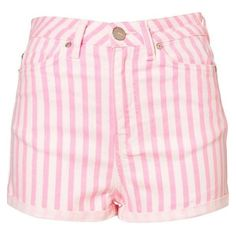 Topshop Moto Pink High Waisted Shorts ❤ liked on Polyvore featuring shorts, fitted shorts, high-waisted shorts, pink high waisted shorts, stripe shorts and pink shorts
