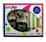 #Primainfanzia #8: Scarpine in pelle morbide per ragazzo bambino con leone scatola regalo con leggins - Dotty Fish