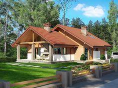 Projekt domu z poddaszem Maja II o pow. 108,43 m2 z garażem 1-st., z dachem dwuspadowym, z tarasem, sprawdź! Modern Cottage, Home Fashion, Gazebo, Outdoor Structures, Cabin, House Styles, Home Decor, House Design, Interiors