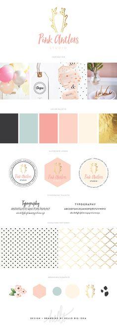Brand Design   Pink Antlers Studio — Hello Big Idea #branding #styleguide #brandingboard