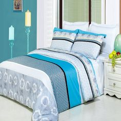 Luxury Alyssa Duvet Cover Thread Count King/Calking 100 % Egyptian Cotton comforter cover set with matching pillow shams. The colors of this set are combination of Gray, Black, White, Turquoise and Beige tan. King Duvet Cover Sets, Comforter Cover, King Comforter Sets, Bed Duvet Covers, Duvet Sets, Pillow Shams, Pillow Cases, Cotton Bedding Sets, Cotton Duvet
