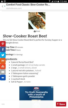 Beef Chops, Slow Cooker Roast Beef, Sunday Suppers, Dinner, Cooking, Food, Dining, Kitchen, Food Dinners