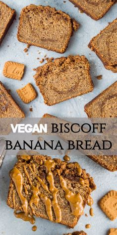 Vegan biscoff banana bread - this deliciously moist vegan banana bread is swirled with biscoff cookie butter and topped with a biscoff streusel. Banana bread but better! Eggless and dairy-free Biscoff Recipes, Vegan Dessert Recipes, Banana Bread Recipes, Snack Recipes, Cake Recipes, Dinner Recipes, Banana Bread Cake, Moist Banana Bread, Vegan Banana Bread