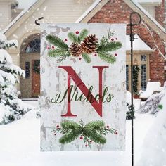 Add a beautiful garden flag to your yard this winter. Our design features a large initial and any name, surrounded by pinecones and pine needles. Please note the flag stand is not included. Woodland Christmas, Christmas Signs, Rustic Christmas, Christmas Art, Beautiful Christmas, Christmas Wreaths, Initial Christmas Ornaments, Christmas Garden Flag, Christmas Chair