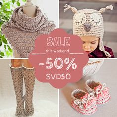 Happy weekend everyone! So, here is my special treat for you - 50% discount code!  Use coupon code SVD50 and get 50% discount! Code is valid on Etsy: http://www.monpetitviolon.etsy.com/ and Ravelry: http://www.ravelry.com/designers/mon-petit-violon  *code expires Monday, February 16 (at midnight, Central European Time) *the code is not valid if you write it as a note. Please, make sure the code is accepted. No refunds of difference.  Pin and share with your friends who crochet! :-)