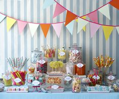 Satisfied everyone's sweet tooth at your next event with an old fashioned candy shop dessert table.